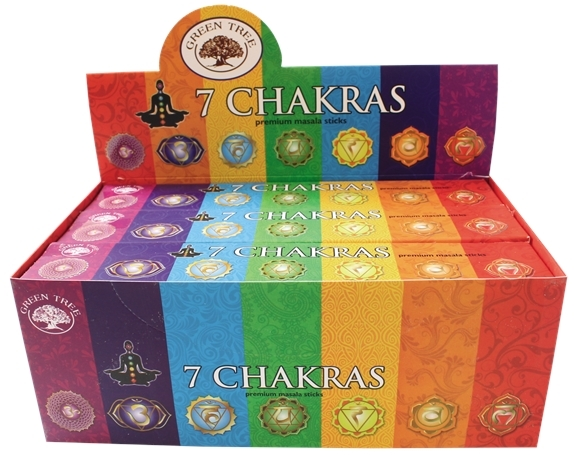 ENCENS GREEN TREE 7 CHAKRAS 15 GR - LOT DE 12 BOITES