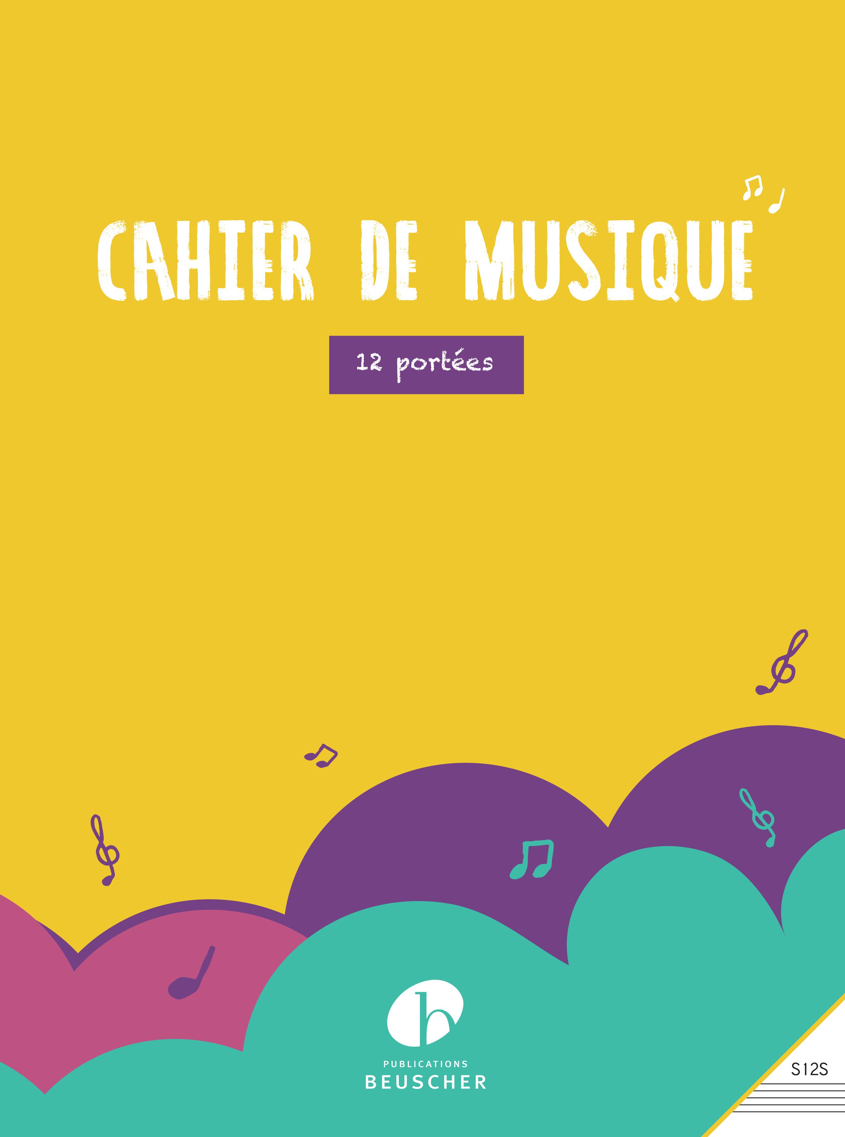 CAHIER DE MUSIQUE 12 PORTEES - RELIURE SPIRALE