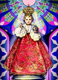 LAMPE SANCTUAIRE BLANCHE NEUVAINE ENFANT JESUS DE PRAGUE - ETIQUETTE VITRAIL + PRIERE