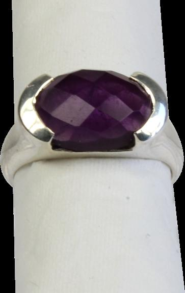 BAGUE ARGENT AMETHYSTE FACETTEE - TAILLE 52