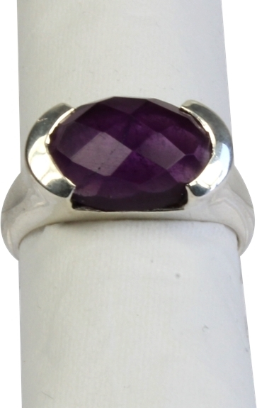BAGUE ARGENT AMETHYSTE FACETTEE - TAILLE 55
