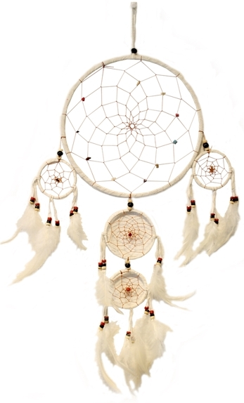 ATTRAPE-REVES BLANC ET PERLES COLOREES - DIAM. 22 CM
