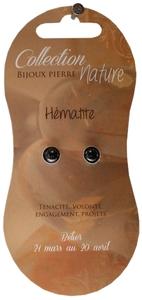BOUCLES D'OREILLES PERLE 6 MM - HEMATITE - LOT DE 6