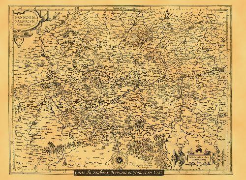 HAINAUT ET LA BELGIQUE EN 1585 50 CM X 38 CM