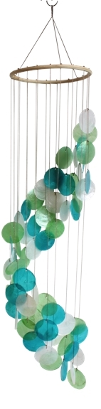 MOBILE COQUILLAGES - TURQUOISE VERT ET BLANC - SPIRALE - 80 CM