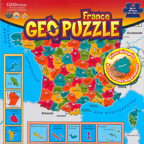 GEOPUZZLE FRANCE DEPARTEMENTALE - 94 PIECES (FR) 438X438