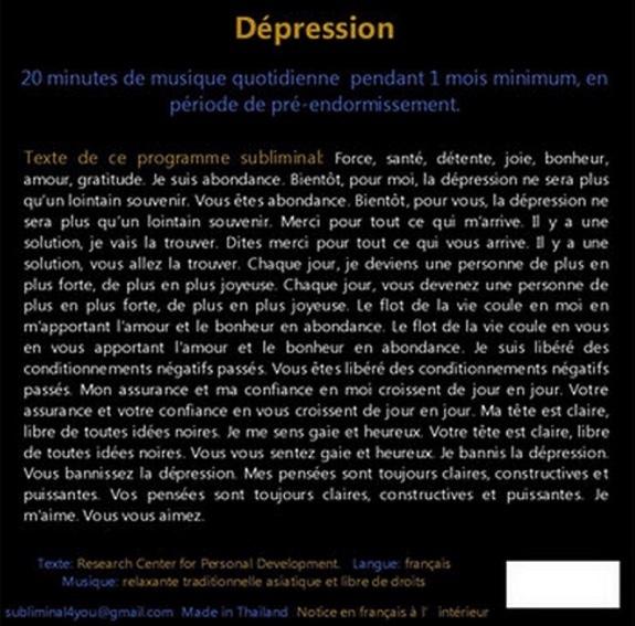 PROGRAMME SUBLIMINAL AUDIO - DEPRESSION