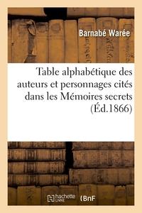 TABLE ALPHABETIQUE DES AUTEURS ET PERSONNAGES CITES DANS LES MEMOIRES SECRETS (ED.1866)