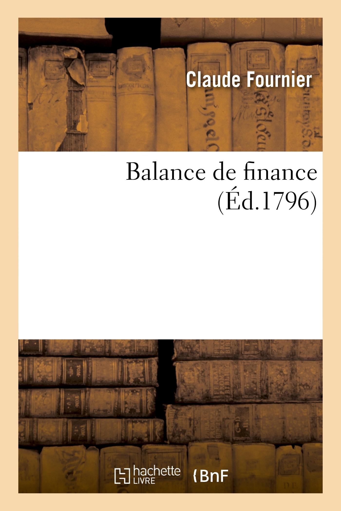 BALANCE DE FINANCE