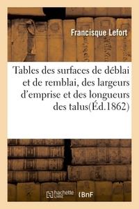 TABLES DES SURFACES DE DEBLAI ET DE REMBLAI, DES LARGEURS D'EMPRISE ET DES LONGUEURS DES TALUS