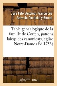 TABLE GENEALOGIQUE DE LA FAMILLE DE CORTEN, PATRONS LAICQS DES CANONICATS, EGLISE DE NOTRE-DAME