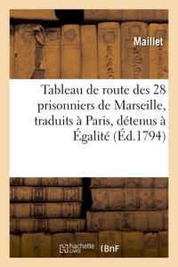 TABLEAU DE ROUTE DES 28 PRISONNIERS DE MARSEILLE, TRADUITS A PARIS, DETENUS A EGALITE, DUPLESSIS