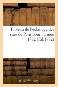 TABLEAU DE L'ECLAIRAGE DES RUES DE PARIS POUR L'ANNEE 1832