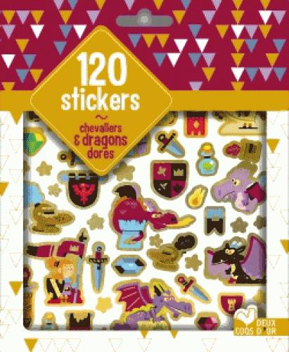 120 STICKERS CHEVALIERS ET DRAGONS DORES - POCHETTE D'AUTOCOLLANTS