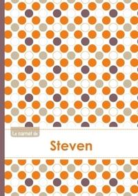 LE CARNET DE STEVEN - LIGNES, 96P, A5 - RONDS ORANGE GRIS VIOLET