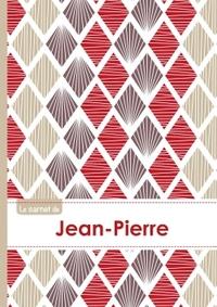 LE CARNET DE JEAN-PIERRE - LIGNES, 96P, A5 - PETALES JAPONAISES VIOLETTE TAUPE ROUGE