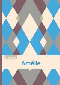LE CARNET D'AMELIE - LIGNES, 96P, A5 - JACQUARD BLEU GRIS TAUPE