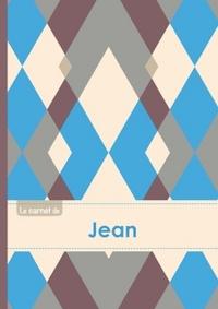 LE CARNET DE JEAN - LIGNES, 96P, A5 - JACQUARD BLEU GRIS TAUPE