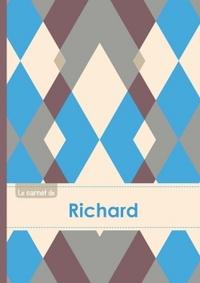LE CARNET DE RICHARD - LIGNES, 96P, A5 - JACQUARD BLEU GRIS TAUPE