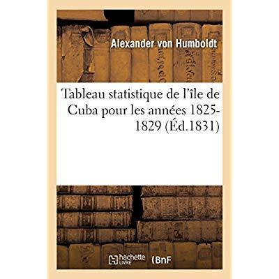 TABLEAU STATISTIQUE DE L'ILE DE CUBA POUR LES ANNEES 1825-1829