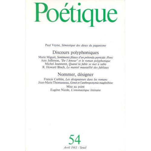 POETIQUE, N  054. DISCOURS POLYPHONIQUES. NOMMER, DESIGNER