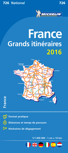 CARTE NATIONALE 726 GRANDS INTINERAIRES FRANCE 2016