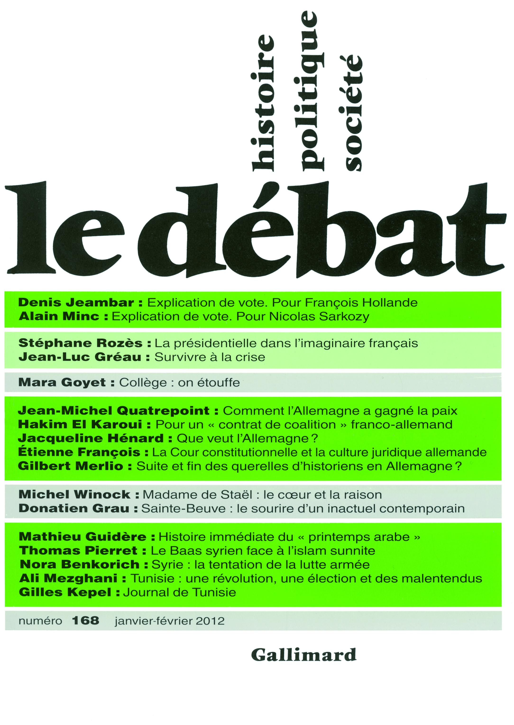 LE DEBAT N168  (JANVIER-FEVRIER 2012)