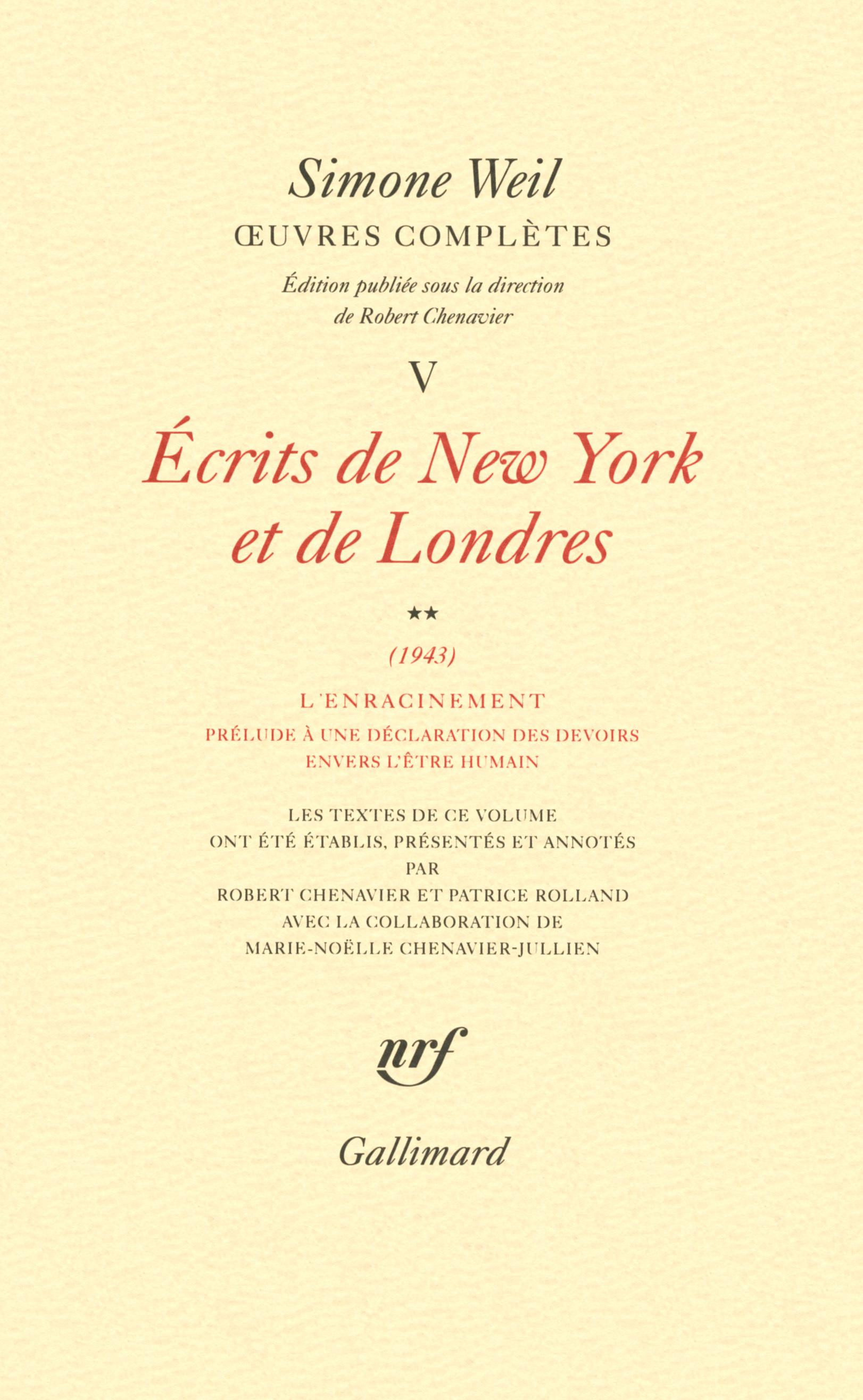 ECRITS DE NEW YORK ET DE LONDRES 1943
