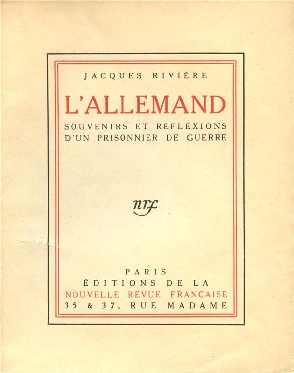 L'ALLEMAND - SOUVENIRS ET REFLEXIONS D'UN PRISONNIER DE GUERRE