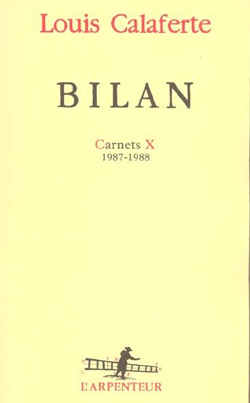CARNETS, X : BILAN - (1987-1988)