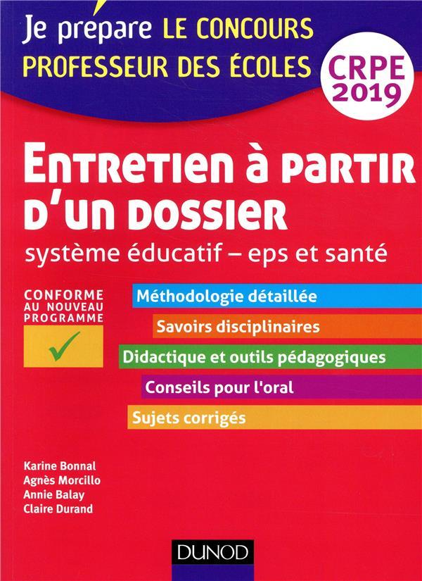 ENTRETIEN A PARTIR D'UN DOSSIER - SYSTEME EDUCATIF - EPS ET SANTE - CRPE 2019
