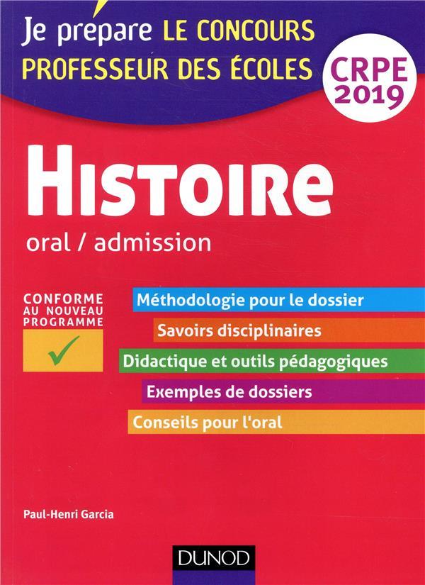 HISTOIRE - ORAL / ADMISSION - CRPE 2019