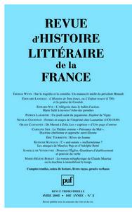 IAD - REVUE D'HISTOIRE LITTERAIRE DE LA FRANCE N 2 2008