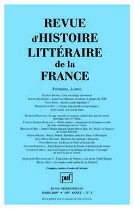 REVUE D'HISTOIRE LITTERAIRE DE LA FRANCE 2009 - N 1