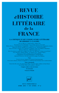 IAD - REVUE D'HISTOIRE LITTERAIRE DE LA FRANCE 2011 N 2