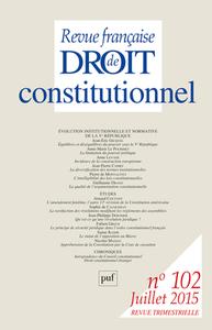 REVUE FRANCAISE DE DROIT CONSTITUTIONNEL N 10 JUILLET 2015