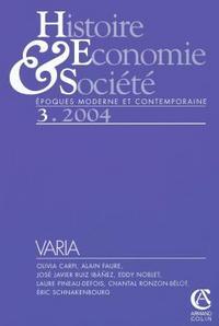 HISTOIRE, ECONOMIE & SOCIETE 3/2004