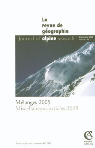 REVUE DE GEOGRAPHIE ALPINE 3/2005