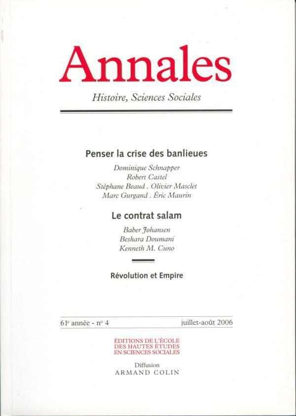ANNALES. HISTOIRE, SCIENCES SOCIALES - VOL 61 (4/2006)