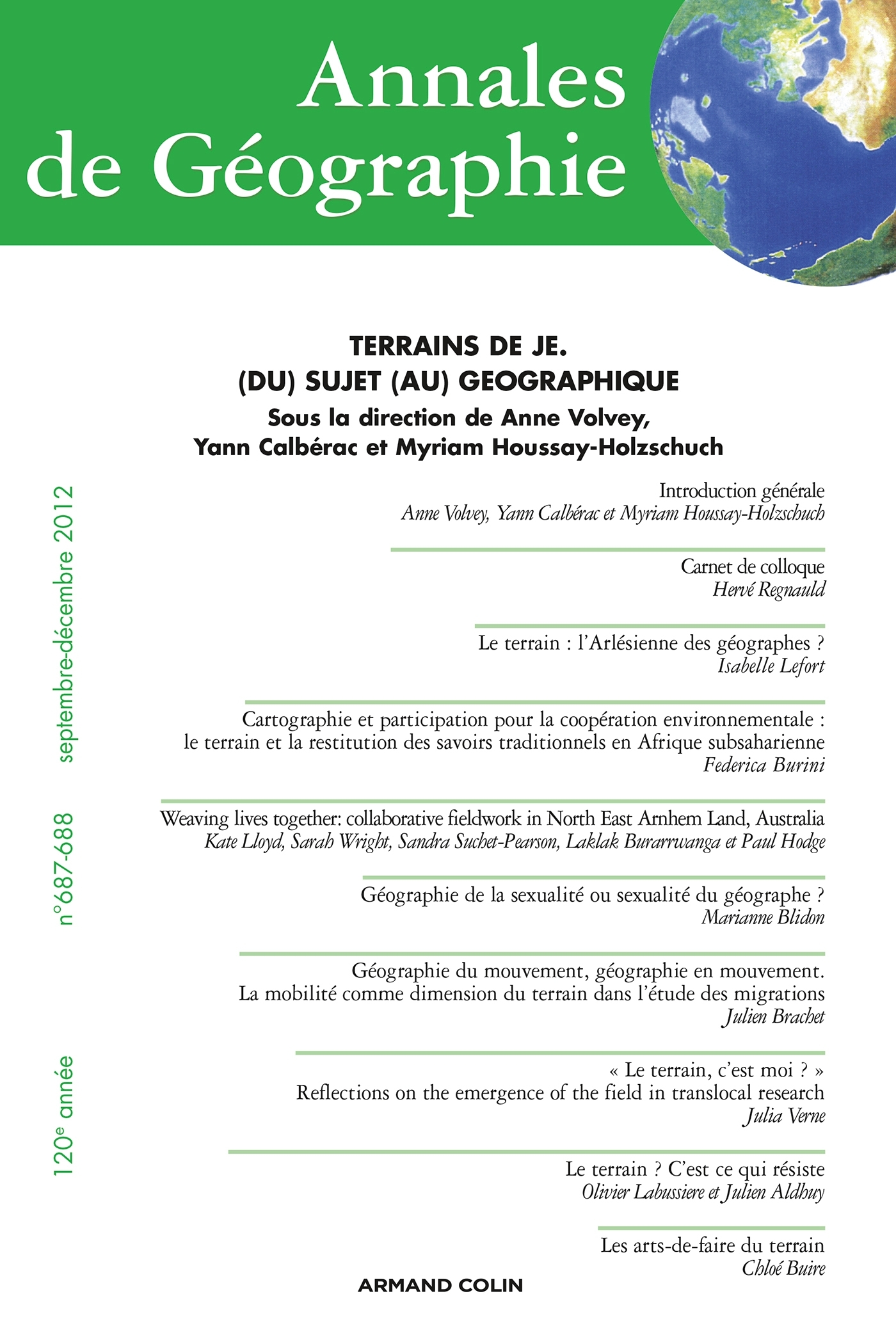 ANNALES DE GEOGRAPHIE N  687-688 (5-6/2012)