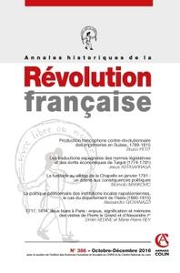 ANNALES HISTORIQUES DE LA REVOLUTION FRANCAISE N  386 (4/2016) VARIA
