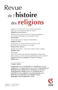 REVUE DE L'HISTOIRE DES RELIGIONS (1/2017) VARIA