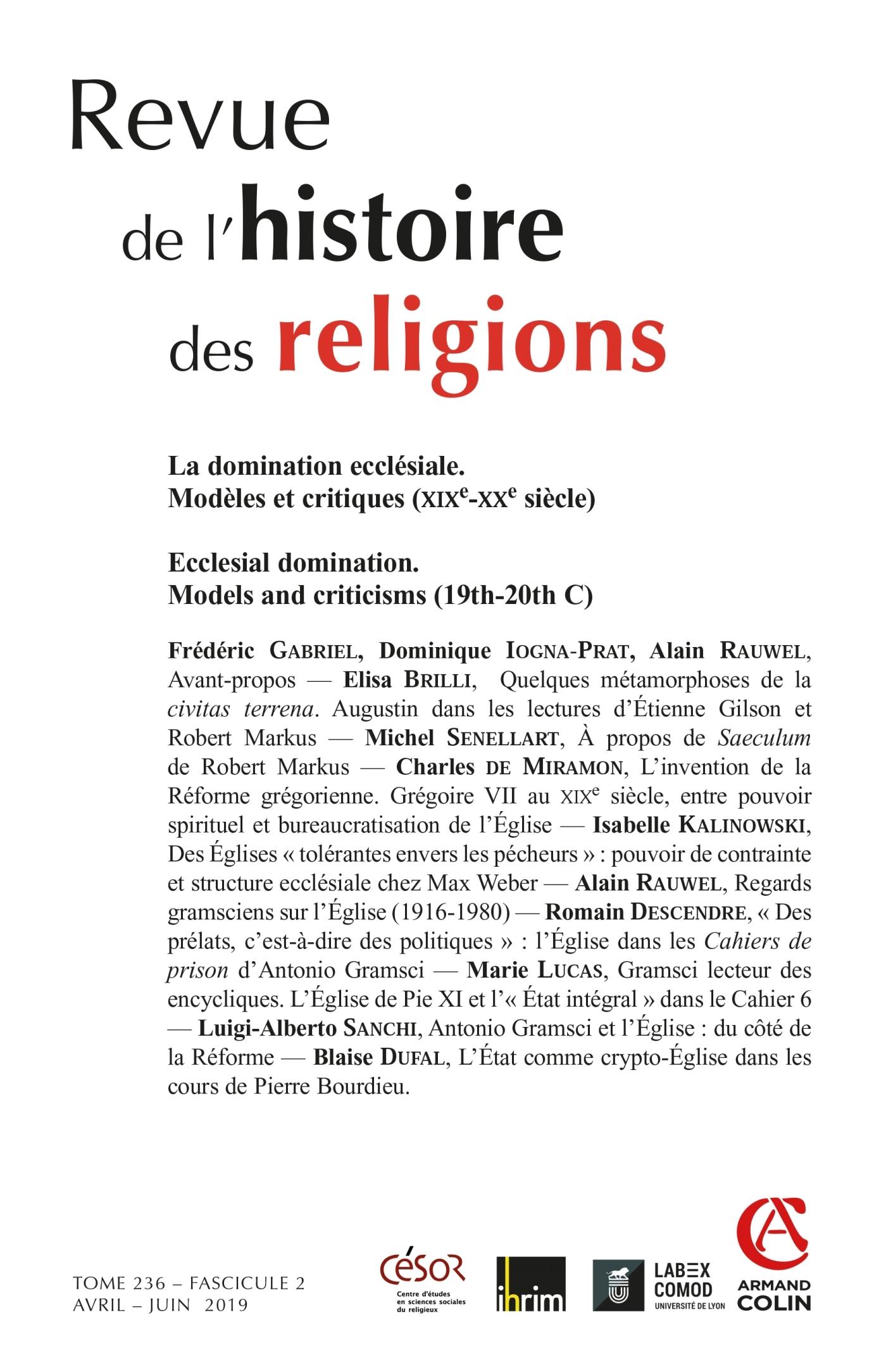 REVUE DE L'HISTOIRE DES RELIGIONS - N 2/2019