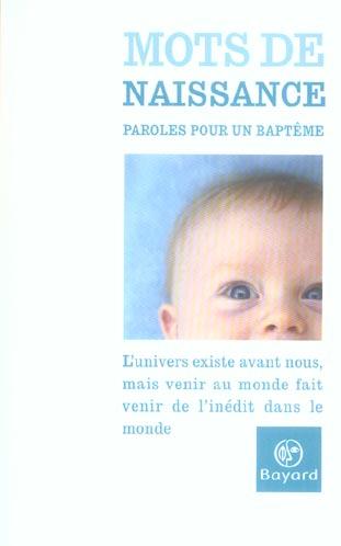 MOTS DE NAISSANCE PAROLES POUR UN BAPTEM
