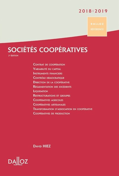SOCIETES COOPERATIVES 2018/19. CREATION . ORGANISATION . FONCTIONNEMENT - 2E ED.