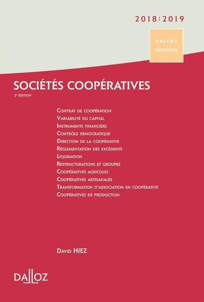 SOCIETES COOPERATIVES 2018/19. CREATION . ORGANISATION . FONCTIONNEMENT - 2E ED.