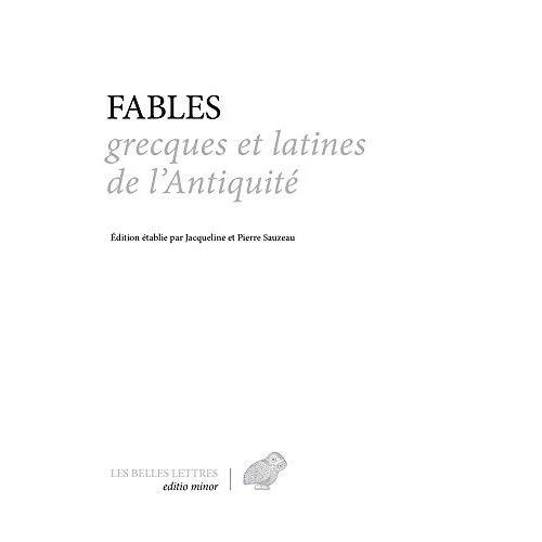 FABLES GRECQUES ET LATINES DE L'ANTIQUITE