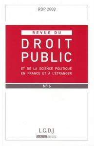 REVUE DE DROIT PUBLIC RDP N 6 2008