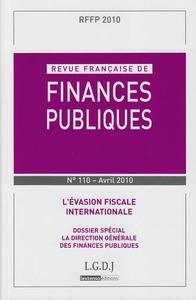RFFP. REVUE FRANCAISE DE FINANCES PUBLIQUES N 110. 2010