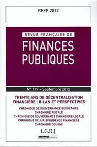 REVUE FRANCAISE DE FINANCES PUBLIQUES, 2012 N 119